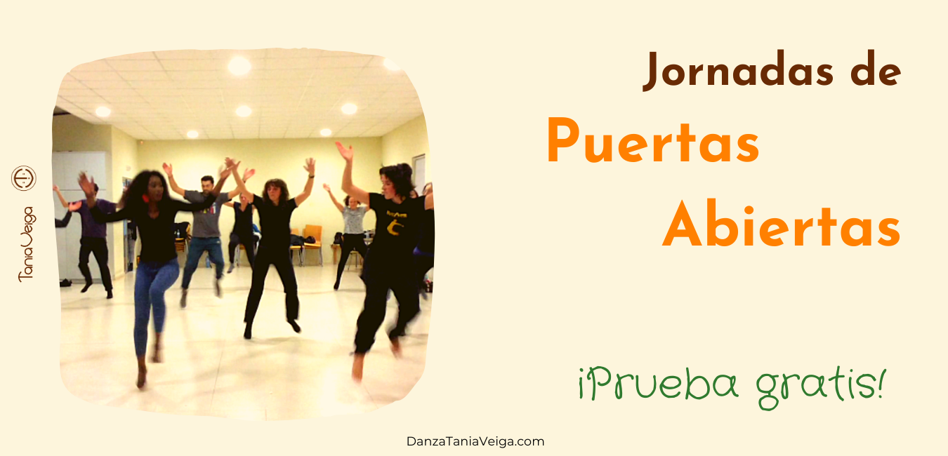 Clase de prueba presencial gratis jornada de Puertas Abiertas danza malinke africana Santiago Carballo Tania Veiga